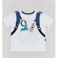 Camiseta Infantil Mochila Interativa Manga Curta Branca