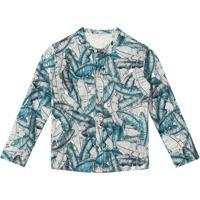 Camisa Folhagem- Off White & Verde Escurolilica Ripilica E Tigor T. Tigre