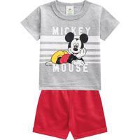 Conjunto De Camiseta Mickey Mouseâ® + Bermuda- Cinza & Vebrandili