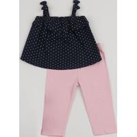 Conjunto Infantil De Regata Estampada De Poá Azul Marinho + Calça Legging Com Glitter Rosa