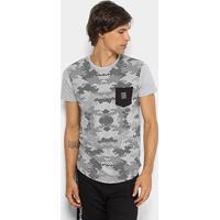 Camiseta Rg 518 Alongada Estampa Camuflada Masculina - Masculino-Mescla