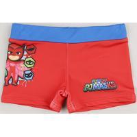 Sunga Infantil Boxer Pj Masks Com Proteção Uv50+ Vermelha