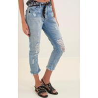 Calça John John High Skinny Cropped Franca 3D Jeans Azul Feminina (Jeans Medio, 50)