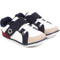 Sapato Infantil Klin Cravinho Velcro - Masculino-Branco+Marinho