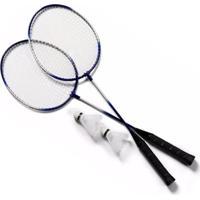 Kit 2 Raquetes Badminton Petecas E Bolsa