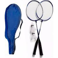 Kit 2 Raquetes Badminton Petecas E Bolsa Thata Esportes