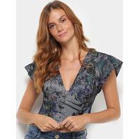 Blusa Morena Rosa Cropped Estampada Decote V Tela Feminina - Feminino-Azul