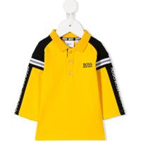 Boss Kids Logo Stripe Polo Shirt - Amarelo