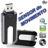 Pen Drive Espiao Camera Espia + Sensor Detector De Movimento