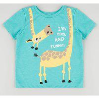 Camiseta Infantil Girafa Manga Curta Verde