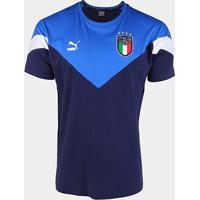 Camiseta Seleção Itália Puma Iconic Masculina - Masculino-Marinho+Azul