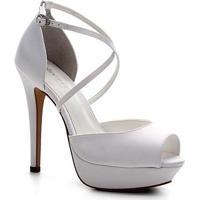 Sandália Shoestock Noiva Meia Pata Cetim Feminina - Feminino-Branco