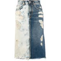 Givenchy Saia Jeans Bicolor Com Detalhe Rasgado - Azul