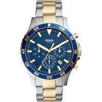 Relógio Fossil Masculino Crewmaster - Ch3076/5An Ch3076/5An - Masculino-Prata+Azul