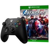 Controle Microsoft Xbox, Sem Fio, Preto - Qat-00007 + Game Marvel'S Avengers