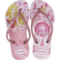 Chinelo Infantil Havaianas Princesas Aurora Feminino - Feminino-Rosa