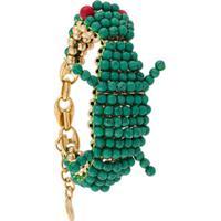 Lanvin Beaded Crocodile Bracelet - Verde