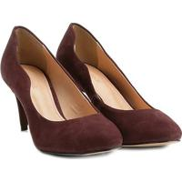 Scarpin Couro Shoestock Salto Médio Ondas - Feminino-Vinho