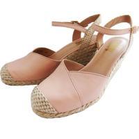 Sapato Anabela Prata Couro 1009411 Rose