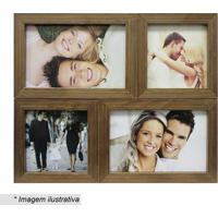 Painel Para 4 Fotos- Marrom Claro- 24X29X6Cm- Kakapos