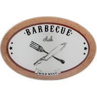 Travessa Oval Barbecue- Marrom Claro & Branco- 2,3X3Decor Glass