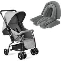 Combo Passeio - Carrinho Max 0 A 15 Kgs Cinza E Protetor Acolchoado 2 Em 1 Para Cadeira E Carrinho De Bebê Multikids Baby - Bb354K