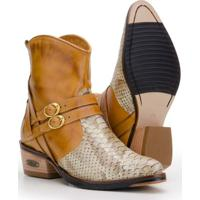 Bota Texana Em Couro Capelli Boots Feminina - Feminino-Marrom Claro