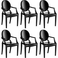 Conjunto Com 6 Cadeiras De Plástico Wind Preto