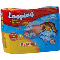 Fralda Descartável Looping Disney Maxi Fort Prática Média 20 Unidades - Unissex-Incolor