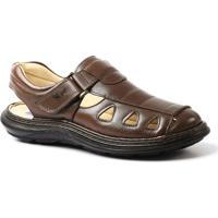 Sandália Doctor Shoes Comfort 917302 - Masculino-Marrom Escuro