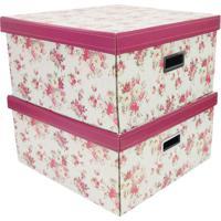 Jogo De Caixas Organizadoras Flower- Off White & Vermelhboxmania