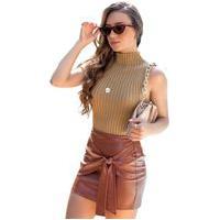 Blusa Tricot Feminina Greta Shopping Do Tricô Verão Canelada