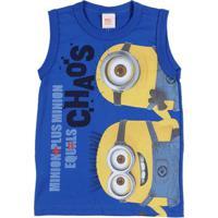 Camiseta Regata Minions Infantil Para Menino - Azul