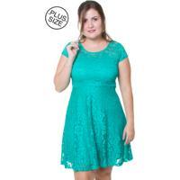 Vestido Estilo Fino Moda Plus Size Renda Floral Verde