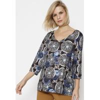 Blusa Floral Acetinada - Preta & Azulsimple Life