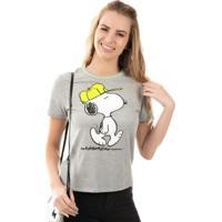 Blusa Com Detalhe De Retilínea Cinza Snoopy