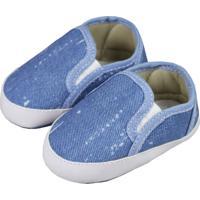 Tênis De Bebê Sem Cadarço Jeans Azul Claro - Kanui