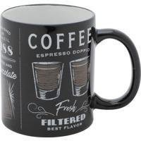 Caneca Coffee Preta E Branca 9,5X8X8 Cm