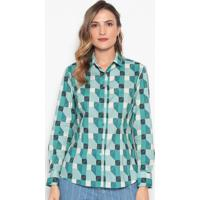 Camisa Geométrica - Verde Claro & Verde Águadudalina