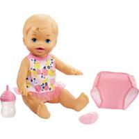 Boneca Little Mommy - Bebê Faz Xixi - Loira - Body Branco E Rosa - Mattel
