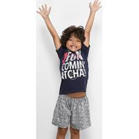 Pijama Infantil Curto Disney Masculino - Masculino-Marinho