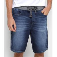 Bermuda Jeans Acostamento Cós Moletom Masculina - Masculino-Azul Escuro