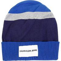 Gorro Calvin Klein Tricolor Etiqueta Logo - Masculino-Marinho