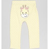 Calça Infantil Girafa Estampada De Poá Amarela