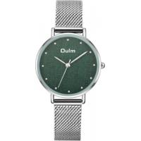 Relógio Lady Oulm Ht3671- Prata E Verde