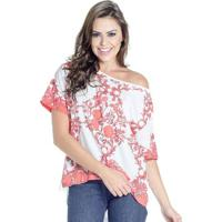 Blusa Manga Curta Estampada Colcci Feminino - Feminino-Branco+Vermelho