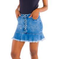 Mini-Saia Jeans Com Trançado Jeans Azul