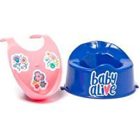 Acessórios Para Boneca Baby Alive - Babador Rosa E Penico Azul Escuro - Cotiplás