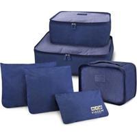 Kit Jacki Design Organizador De Malas De 6 Peças Viagem - Unissex-Azul