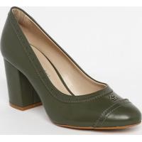 Sapato Tradicional Em Couro Com Microfuros - Verde Escurcapodarte